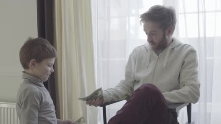 allowance : Bearded father sitting in arm-chair near big window and talking with his little son. Father agrees with the child. Father-son relationship. Stock Footage