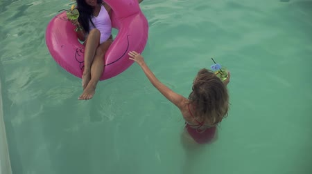 feliz : Two beautiful girlfriends in bathing suits have fun in the pool and drink cocktails. One girl with dark hair sits on an inflatable pink flamingo, the second with curly hair stands nearby.
