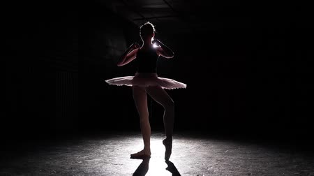 güzel sanatlar : Silhouette of ballerina isolated on black background. Young slim ballerina practicing ballet. Ballerina dancer wearing tutu and pointe shoes. Woman shows classic ballet pas. Slow motion.