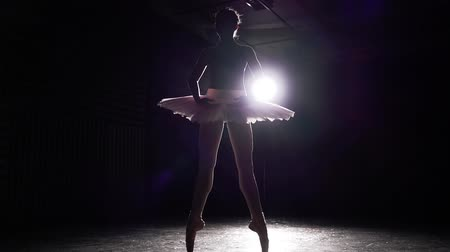 estatuária : Young slim ballerina practicing ballet. Silhouette of ballerina isolated in spotlight on black background in studio. Woman shows classic ballet pas. Slow motion.