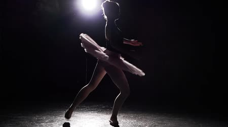 estatuária : Young and beautiful ballerina dances energetically but gracefully on her pointe ballet shoes on black background in studio. Slow motion. Stock Footage