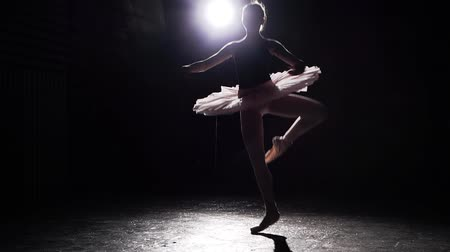 比喩的な : Beautiful young graceful ballerina on pointe shoes at black concrete floor background. Ballet practice. Slow motion.