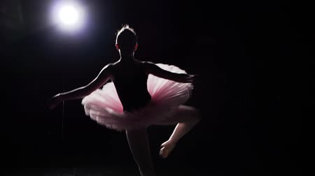 estatuária : Young and graceful ballerina dances on her pointe ballet shoes on black background in studio. Woman shows classic ballet pas. Slow motion. Stock Footage