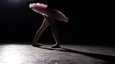estatuária : Ballerina performing pirouettes on black background in studio. Female ballet dancer wearing tutu and pointe shoes. Slow motion.