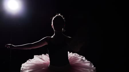 güzel sanatlar : Slow motion shot of ballerina dancing in studio. Beautiful female ballet dancer on a black background. Ballerina wearing tutu and pointe shoes. Slow motion. Stok Video