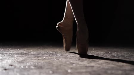 baletnica : Female legs in pointe shoes. Ballet practice. Beautiful slim graceful legs of ballet dancer. Close up. Wideo