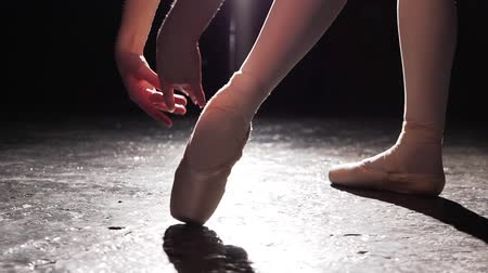 estatuária : Beautiful legs of young ballerina in pointe shoes. Ballet practice. Beautiful slim graceful legs of ballet dancer.