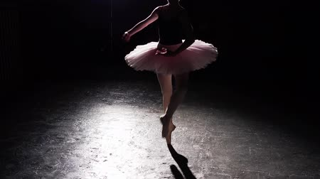estatuária : Professional graceful flexible ballerina dancing on her pointe ballet shoes in spotlight on black background in studio. Woman shows classic ballet pas wearing tutu and pointe shoes. Stock Footage