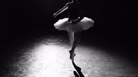 比喩的な : Professional flexible ballerina dancing on her pointe ballet shoes in spotlight on black background in studio. Woman shows classic ballet pas wearing tutu and pointe shoes. Black and white shot.