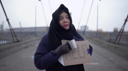 alms : Portrait old sad beggar stay on the bridge in cold windy grey weather asking for alms and help Stock Footage
