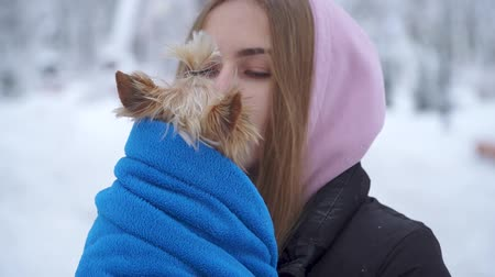 yorkie : Young girl kissing a yorkshire terrier in a winter snow-covered park holding a dog wrapped in a blue blanket. A teenager and a dog on a walk outdoors. Slow motion.