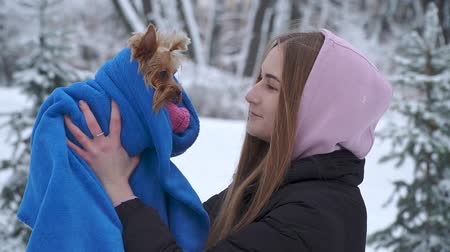 yorkie : Portrait young girl kissing a yorkshire terrier in a winter snow-covered park holding a dog wrapped in a blue blanket. A teenager and a pet on a walk outdoors. Slow motion.