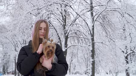 yorkie : Portrait cute teen girl holding a yorkshire terrier on hands on a background of snow covered trees in a winter park. A teenager and a pet on a walk outdoors. Slow motion. Stock Footage
