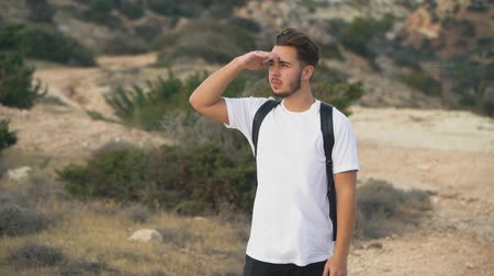 chill out : Young attractive guy with a backpack is looking thoughtfully into the distance on the windy empty seashore Stock Footage