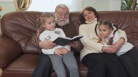 pigtailler : Grandfather and grandmother sitting on leather sofa in modern living room with two small girls near. Adult man reading book for his granddaughters. Leisure of happy family