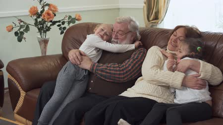 pigtail : Grandfather and grandmother sitting on leather sofa in modern living room with two small girls near. Granddaughters cuddling their grandparents. Leisure of happy family Stock Footage