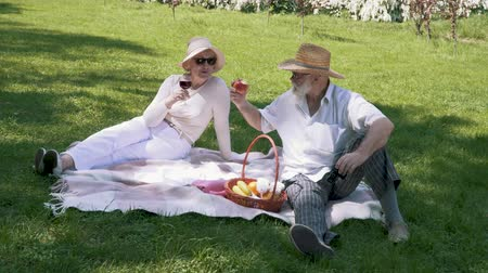 casal : Adult man with senior woman relaxing on a blanket in park