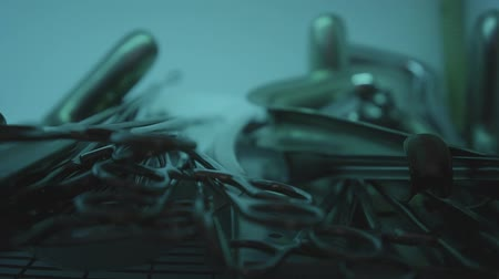 scalpel : Surgical instruments on the table Stock Footage