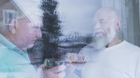 アルコール依存症 : Two old men drinking alcohol whiskey standing near the window at home. Caucasian old men neighbors friends enjoying time together indoors. Leisure of the pensioners. Shooting from behind glass 動画素材