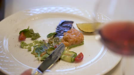 villa : White plate with pie of grinded salmon fish and avocado with fresh green salat. Womans hands with fork and knife gently get salmon on the fork.