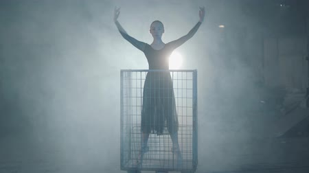 плен : Professional ballerina dancing in black dress in the studio in big blue cage in the black background with spotlight. Young beautiful woman raising hand standing in a metal trolley.