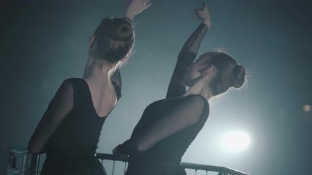 nape : The figures of two slim professional ballerinas dancing in black dress in the studio in front of a spotlight rays. Young beautiful women raising hands gracefully. Back shooting Stock Footage