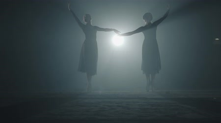nape : The silhouettes of two slim professional ballerinas dancing simultaneously in black dress in the studio in front of a spotlight rays. Young beautiful women raising hands and making moves gracefully