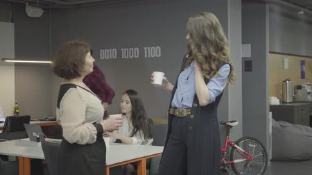 discutir : Mature woman talking with her young stylish colleague in modern office. Bearded smiling man comes with papers in hands and shows to the lady. In the background young man puts his bike near the wall Vídeos
