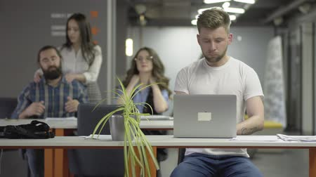 povolání : The concentrated young man in white t-shirt working with laptop sitting at the table in the modern office in the foreground. The man and woman kneading their necks, girl making massage to beardie
