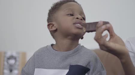 ailelerin : African american attractive mother playing and having fun with cute son giving him chocolate piece of cake Stok Video