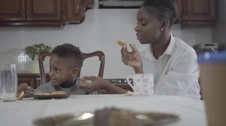 cálcio : Portrait Attractive african american woman sitting with her little son by the table playing cookies on the plate. Relationship mom and son. A happy family. Family healthy breakfast.