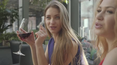 kıvırcık saçlar : Two girlfriends sitting at the table in the cafe chatting and enjoying alcohol. Pretty elegant woman with long hair drinking red wine from the high glass. Curly blond lady telling story to the friend Stok Video