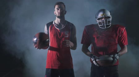 amerikan : Multi sports collage with basketball, American football players. Conceptual photo with fit athletes in darkness with smoke. Super Bowl concept