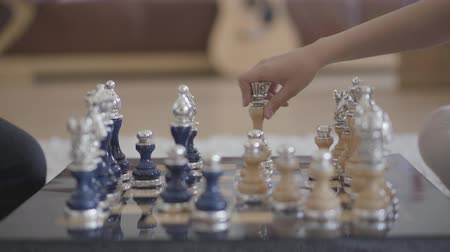 intrigue : Two unrecognizable people playing beautiful luxury chess in the living room in a cozy atmosphere, and someone knocked down a pawn. Close up