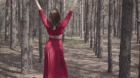 опытный : Cute graceful girl in a red dress walks in the pine forest. Pretty young woman walks between the pines.