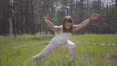 経験豊かな : Portrait healthy beautiful woman doing yoga fitness stretching in the forest. Spectacular nature. Gorgeous graceful tender sports brunette practicing exercises outdoors.