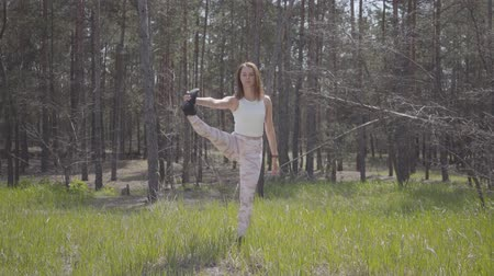 выражающий : Healthy beautiful woman doing yoga fitness stretching in the forest. Spectacular nature. Стоковые видеозаписи