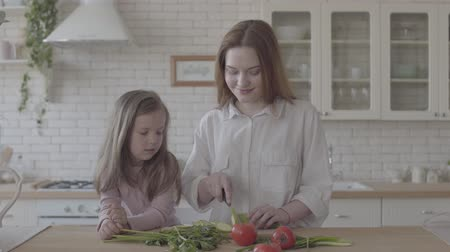 цуккини : Portrait pretty young smiling woman cooking salad at the table, cutting zucchini. Little girl standing near learning how to make food. Proper parenting. Happy family Стоковые видеозаписи