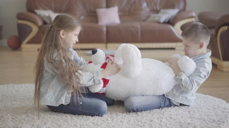 собственность : Twins boy and girl sit in living room on the floor and dont know how to share between them a big taddy bear. Kids pulling toy to each other to own it Стоковые видеозаписи