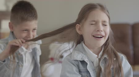 two gender : Portrait cute twin brother naughty boy playing pulling the hair of his cute sister and smiling in cozy living room