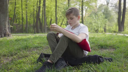 maca : Young boy sit with pillow in the green park and eating an apple. Outdoor recreation.