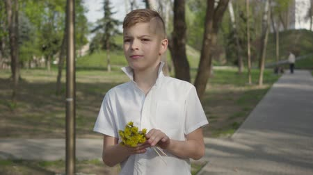 pampeliška : Young boy with dandelion flowers waiting to give a bouquet for person. Outdoor recreation. Dostupné videozáznamy