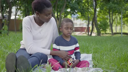 genuíno : Portrait adorable cute African American woman sitting on the blanket with her little son playing with a toy in the park. The young mother spending time with her child outdoors. Loving family on the picnic