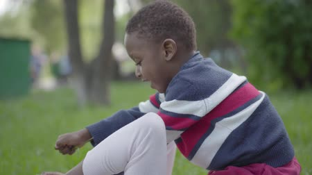 položit : Pretty African American woman lying on the grass in the park, her little son sitting on top of her touching her face, both smiling. Mother and boy playing outdoors close-up. Motherhood concept Dostupné videozáznamy