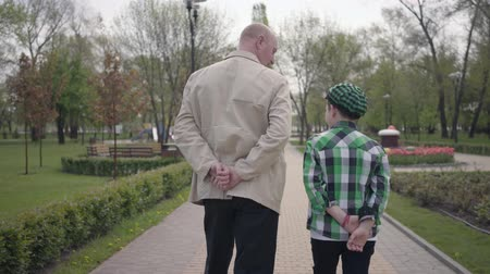 walking back : Grandfather and grandson walking in the park with their backs to camera. Both people have their hands behind their backs. The child imitating the old man. Generations concept. Back view