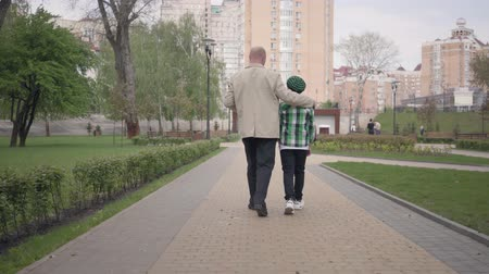 walk behind : Back view of grandfather and grandson walking in the park with their backs to camera. The man hugs the child by his shoulders. Generations concept, Summertime leisure