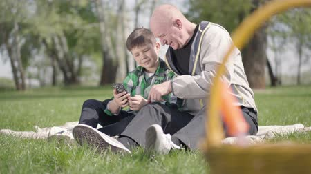 emeryt : Portrait of cute senior man sitting with his grandson on the blanket in the park, looking in cellphone. The child teaching grandpa how to use gadgets. Leisure outdoors. Grandfather and grandson spending time together Wideo