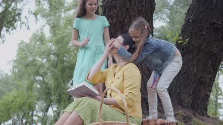 juntar : Cute elegant senior woman sitting on the blanket under the tree in the park reading the book. Two cute granddaughters playing near, one of them cover eyes of woman, trying to get attention Vídeos