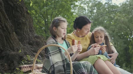 bécsi kifli : Happy grandmother and granddaughters having picnic at summer park. Grandma hugging her two granddaughters near big tree and share bread for girls. Stock mozgókép