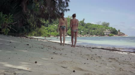 praslin : Seychelles. Praslin Island. Two slim girls in bathing suits walking on the beach of amazing awesome island with palms, trees, blue spectacular water. Tropical island luxury vacation